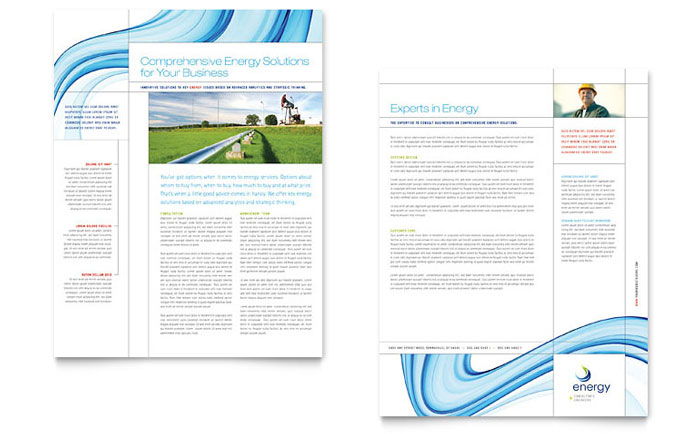 Renewable Energy Consulting Datasheet Template Design Download - InDesign, Illustrator, Word, Publisher, Pages