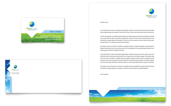 Green Living & Recycling Business Card & Letterhead Template Design Download - InDesign, Illustrator, Word, Publisher, Pages