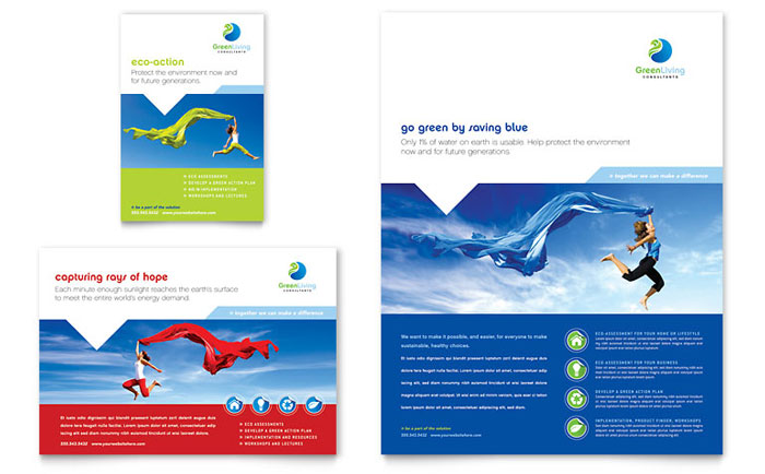 Green Living Recycling Brochure Template Design