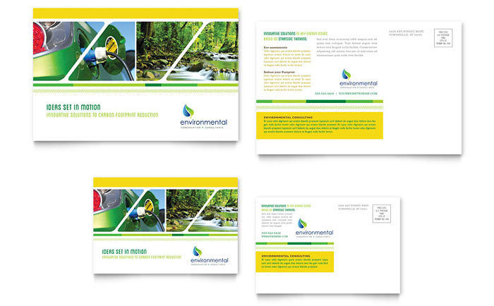 Environmental conservation postcard template design for 6x4 postcard template