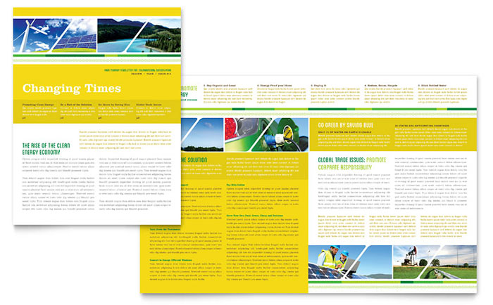 Energy Environment Newsletters Templates Design Examples