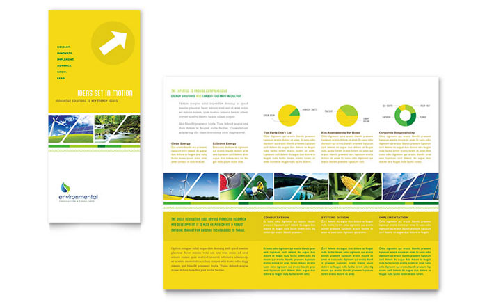 Environmental conservation tri fold brochure template design for Brochure templates microsoft publisher