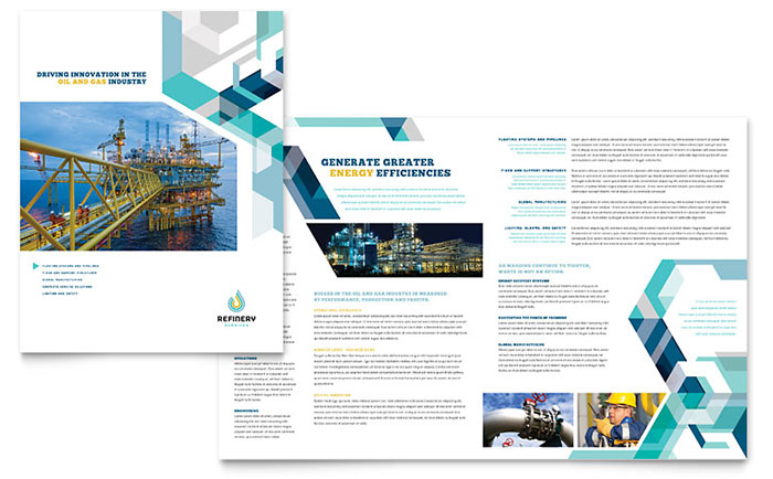 Oil gas company brochure template design for Company brochure design templates