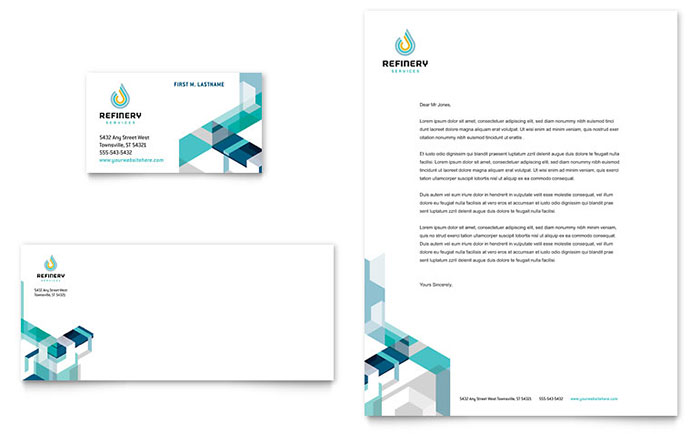 oil & gas company business card & letterhead template design, Presentation templates