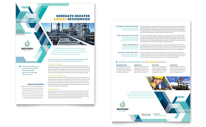Oil  Gas Company Datasheet Template Design