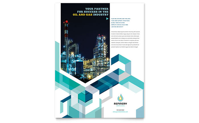 oil  u0026 gas company flyer template design