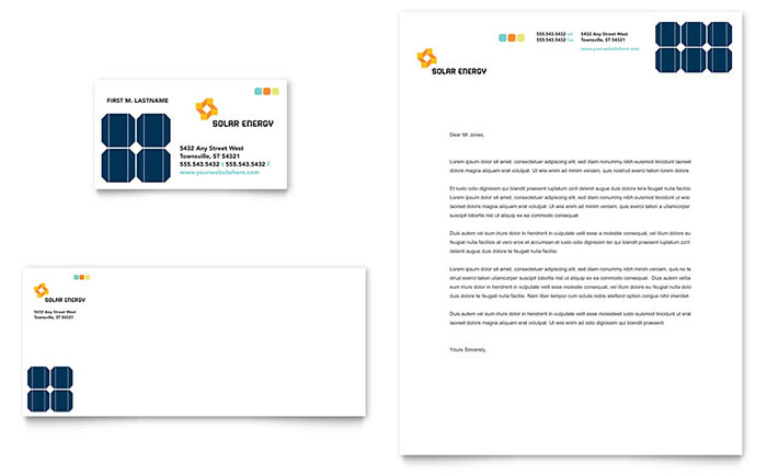 Solar Energy Business Card & Letterhead Template Design Download - InDesign, Illustrator, Word, Publisher, Pages