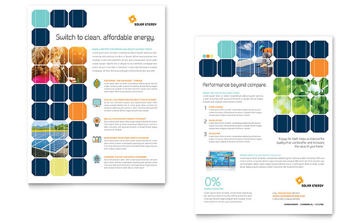 Solar Energy Datasheet Template Design