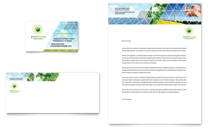 Green energy consultant business card letterhead template design reheart