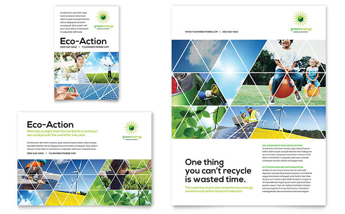 Green Energy Consultant Flyer & Ad Template Design Download - InDesign, Illustrator, Word, Publisher, Pages