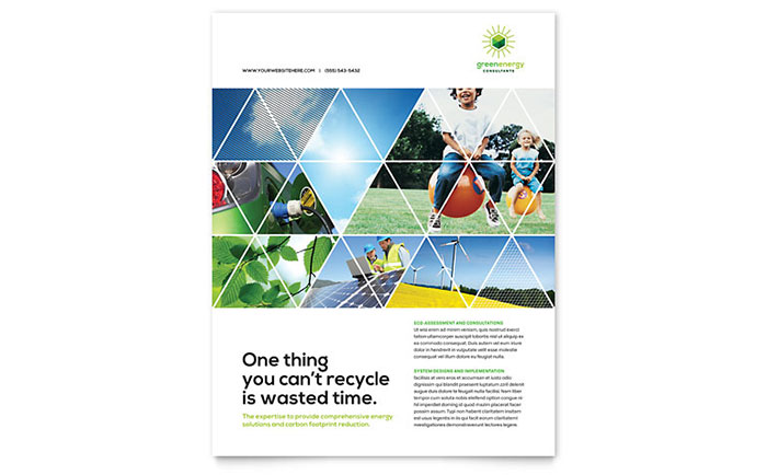 Green Energy Consultant Flyer Template Design