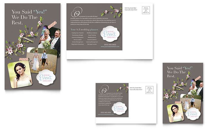 wedding planner brochure template - wedding planner postcard template design