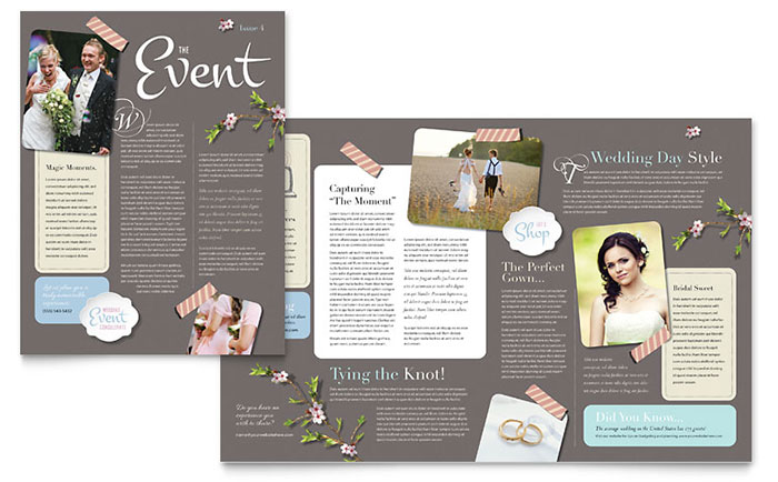 Wedding planner newsletter template design for Bridesmaid newsletter template