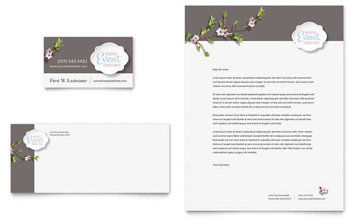Wedding planner business card letterhead template design fbccfo