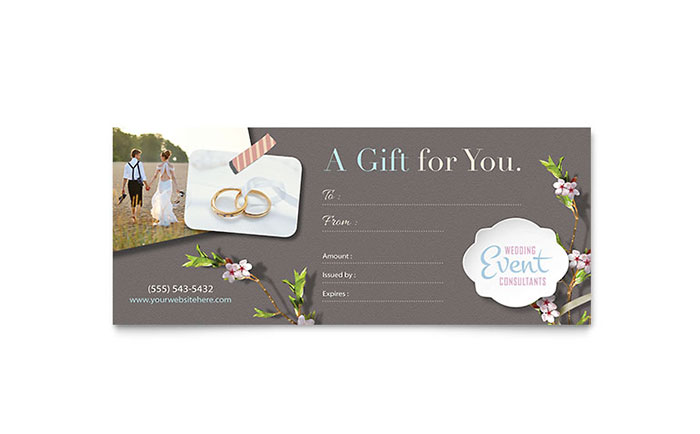 Wedding & Event Planning Gift Certificates | Templates & Design Examples