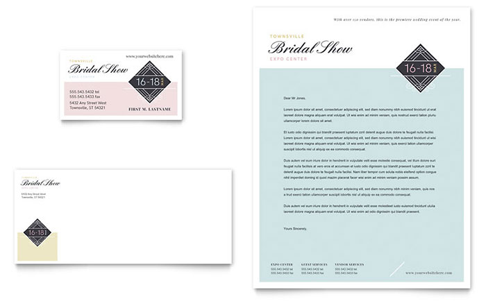 Bridal Show Business Card Amp Letterhead Template Design