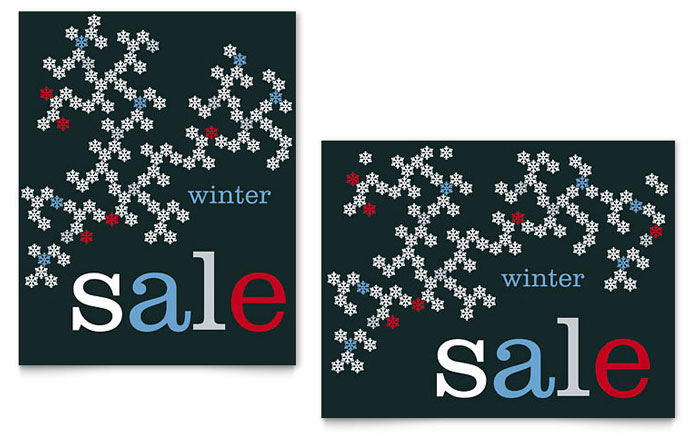 Snowflake Pattern Sale Poster Template Design Download - InDesign, Illustrator, Word, Publisher, Pages