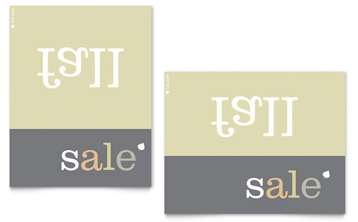 Inverse Upside Down Fall Sale Poster Template Design