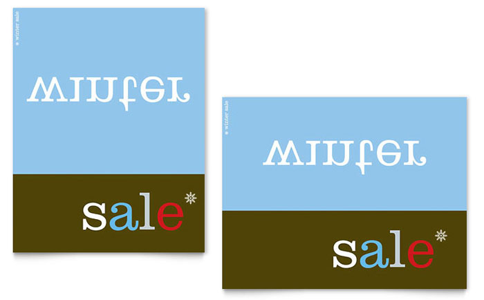 Inverse Upside Down Winter Sale Poster Template Design Download - InDesign, Illustrator, Word, Publisher, Pages