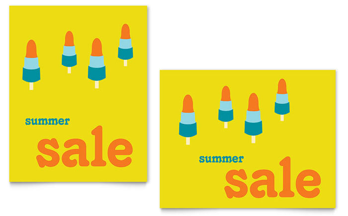 Summer Popsicles Sale Poster Template Design Download - InDesign, Illustrator, Word, Publisher, Pages