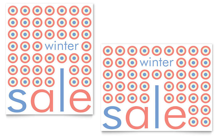 Geometric Winter Color Sale Poster Template Design Download - InDesign, Illustrator, Word, Publisher, Pages