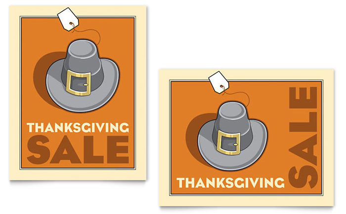 Thanksgiving Pilgrim Sale Poster Template Download - InDesign, Illustrator, Word, Publisher, Pages