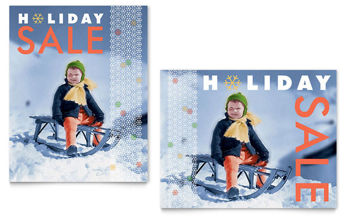 Child Sledding Sale Poster Template Design Download - InDesign, Illustrator, Word, Publisher, Pages