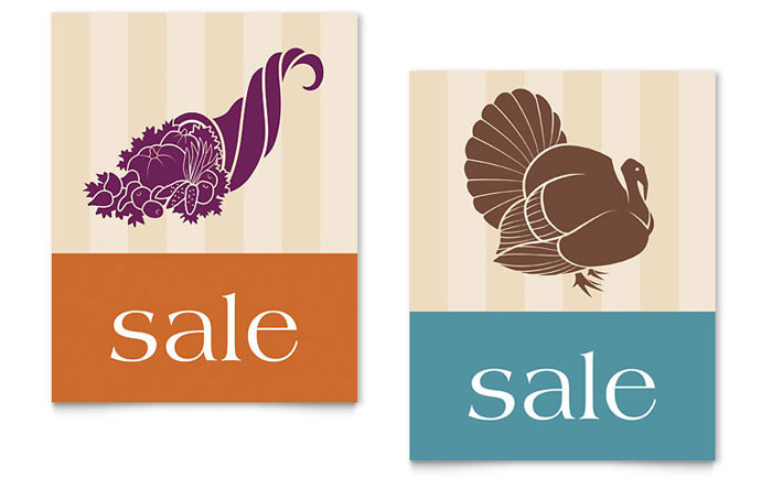 Thanksgiving Cornucopia & Turkey Sale Poster Template Design Download - InDesign, Illustrator, Word, Publisher, Pages