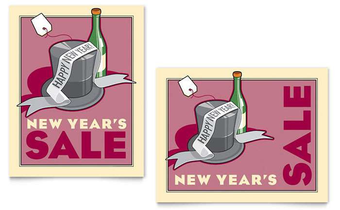 New Year's Champagne Sale Poster Template Design