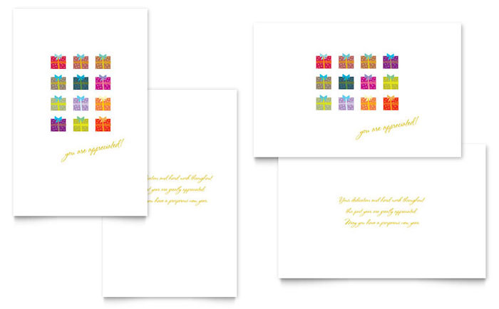 Christmas Presents Greeting Card Template Design Download - InDesign, Illustrator, Word, Publisher, Pages