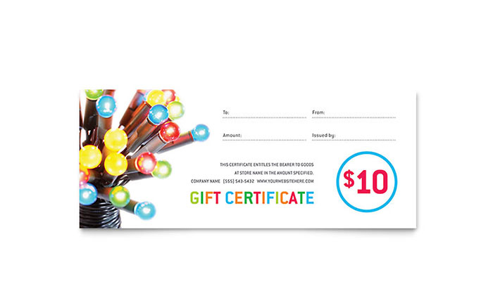 full page gift certificate template - christmas lights gift certificate template design