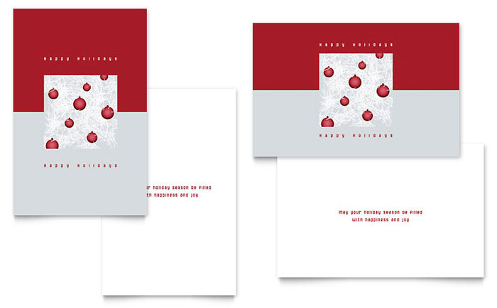 Red Ornaments Greeting Card Template Design Download - InDesign, Illustrator, Word, Publisher, Pages