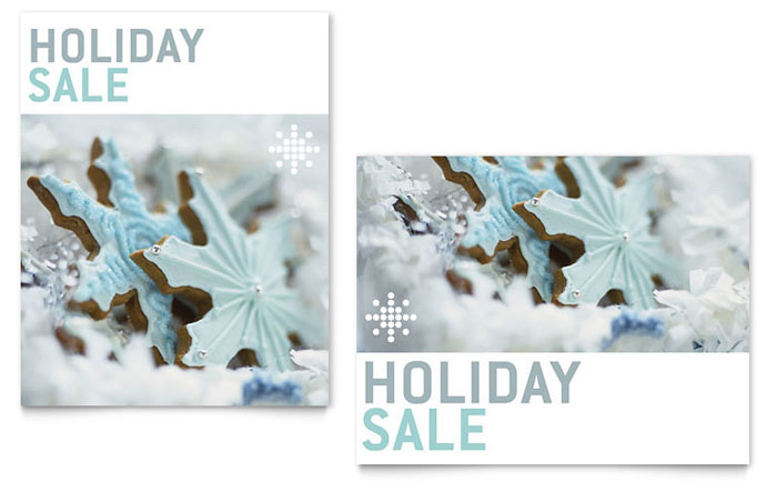 Snowflake Cookies Sale Poster Template Design Download - InDesign, Illustrator, Word, Publisher, Pages