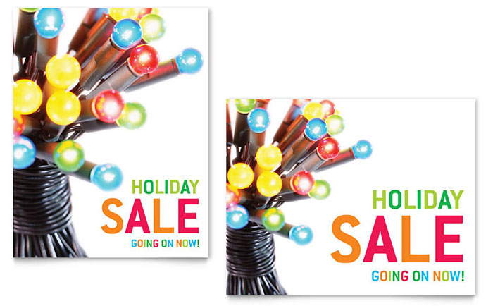 christmas lights sale poster template design