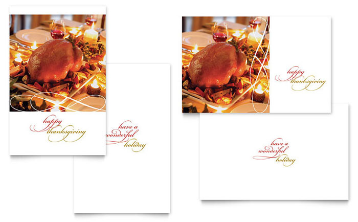 Happy Thanksgiving Greeting Card Template Design Download - InDesign, Illustrator, Word, Publisher, Pages