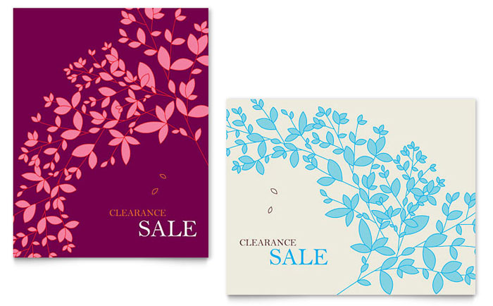 spring leaves sale poster template design