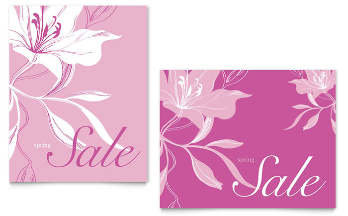 Pink Flowers Sale Poster Template Design Download - InDesign, Illustrator, Word, Publisher, Pages