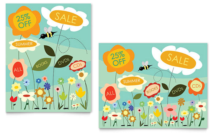 Spring & Summer Flowers Sale Poster Template Design Download - InDesign, Illustrator, Word, Publisher, Pages