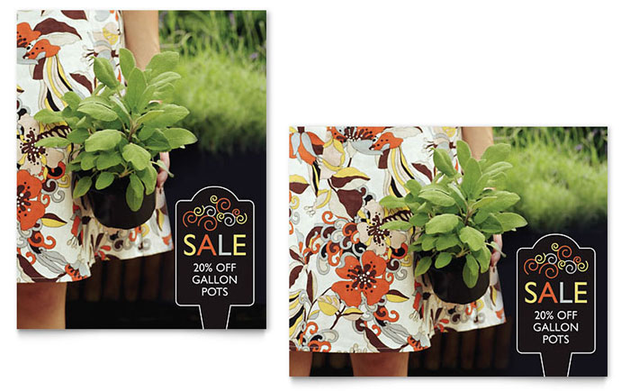 Garden Plants Sale Poster Template Design Download - InDesign, Illustrator, Word, Publisher, Pages