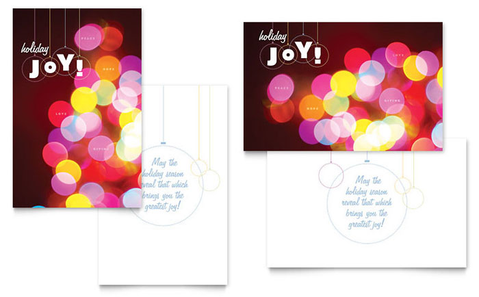 Holiday Lights Greeting Card Template Design Download - InDesign, Illustrator, Word, Publisher, Pages