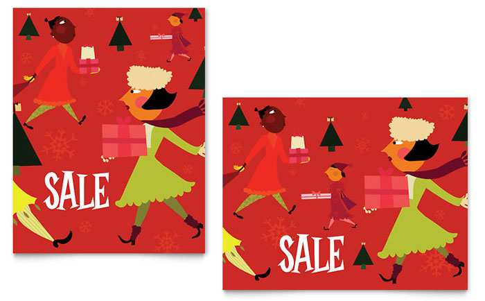 Holiday Shoppers Sale Poster Template Design - InDesign, Illustrator, Word, Publisher, Pages