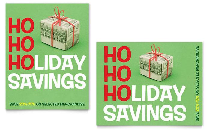 holiday savings sale poster template design