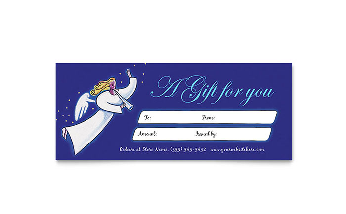christmas angel gift certificate template design