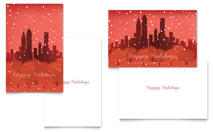 Cityscape Winter Holiday Greeting Card Template Design - InDesign, Illustrator, Word, Publisher, Pages
