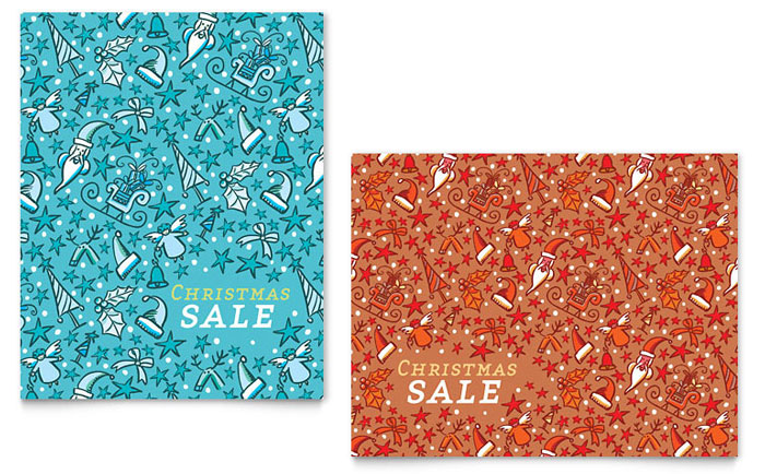 Christmas Confetti Sale Poster Template Design - InDesign, Illustrator, Word, Publisher, Pages