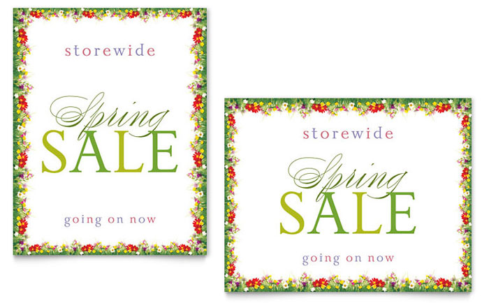 Floral Border Sale Poster Template Design
