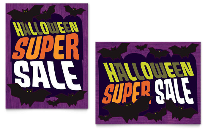 Halloween Bats Sale Poster Template Download - InDesign, Illustrator, Word, Publisher, Pages