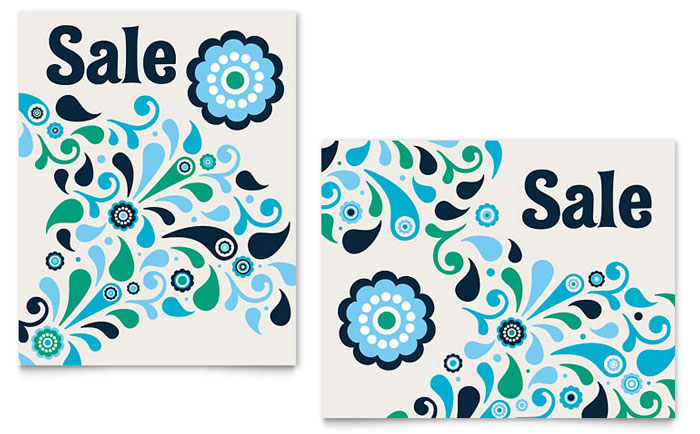 Winter Color Floral Sale Poster Template Design Download - InDesign, Illustrator, Word, Publisher, Pages