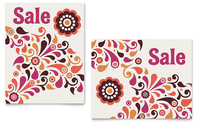 Fall Color Floral Sale Poster Template Design Download - InDesign, Illustrator, Word, Publisher, Pages