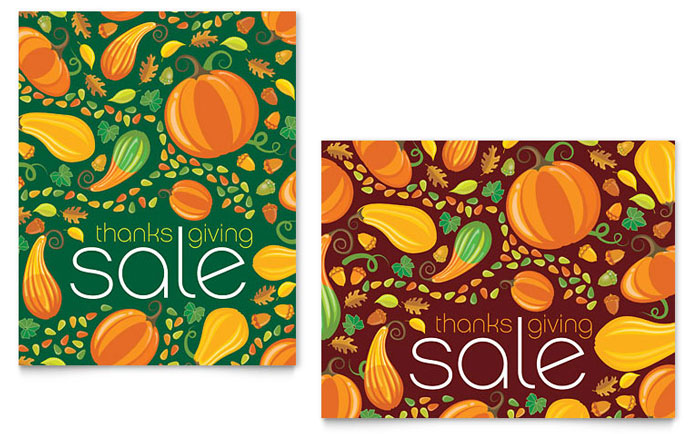 Thanksgiving Harvest Sale Poster Template Design Download - InDesign, Illustrator, Word, Publisher, Pages